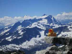 Baker, Shuksan, and the Cozi Duck from the summit of Whatcom
