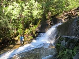 Gerry scrambling up Big Creek Falls