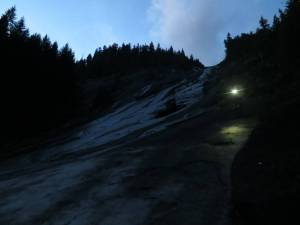 scrambling down by headlamp