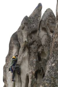 Rob climbing A Crack on Orchard Rock