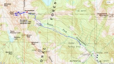 Chair Peak 2-26-2016 GPS track on map